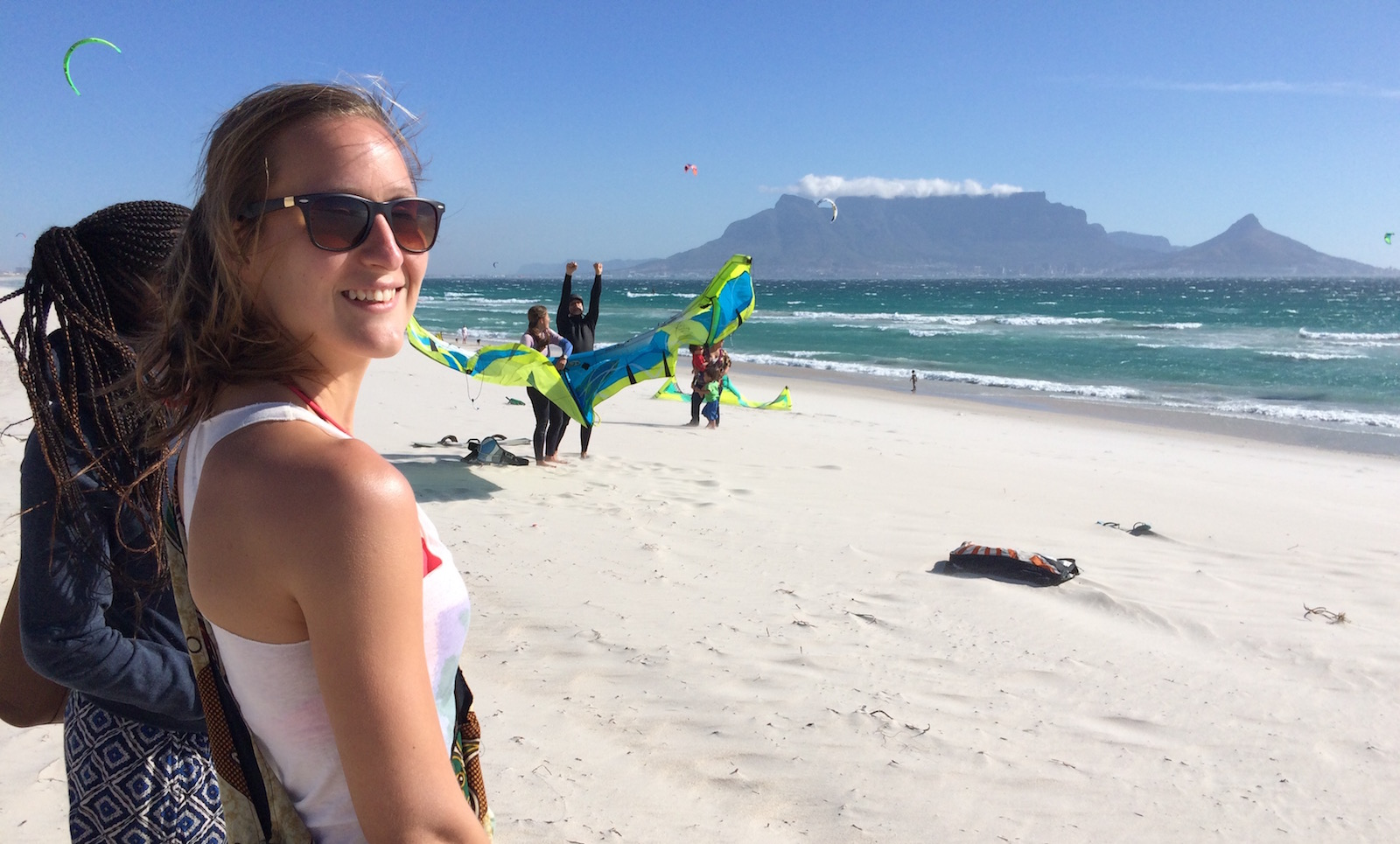 Can't get much better than that. Our local kite beach with Table Mountain in the background.